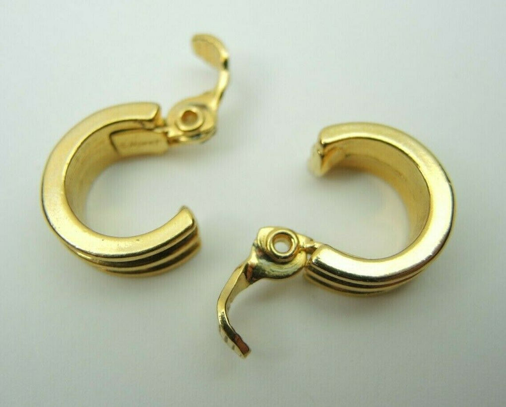Monet Gold-Tone 16mm Clip-On Earrings ~ Vintage Fashion Costume Jewelry - Fazoom