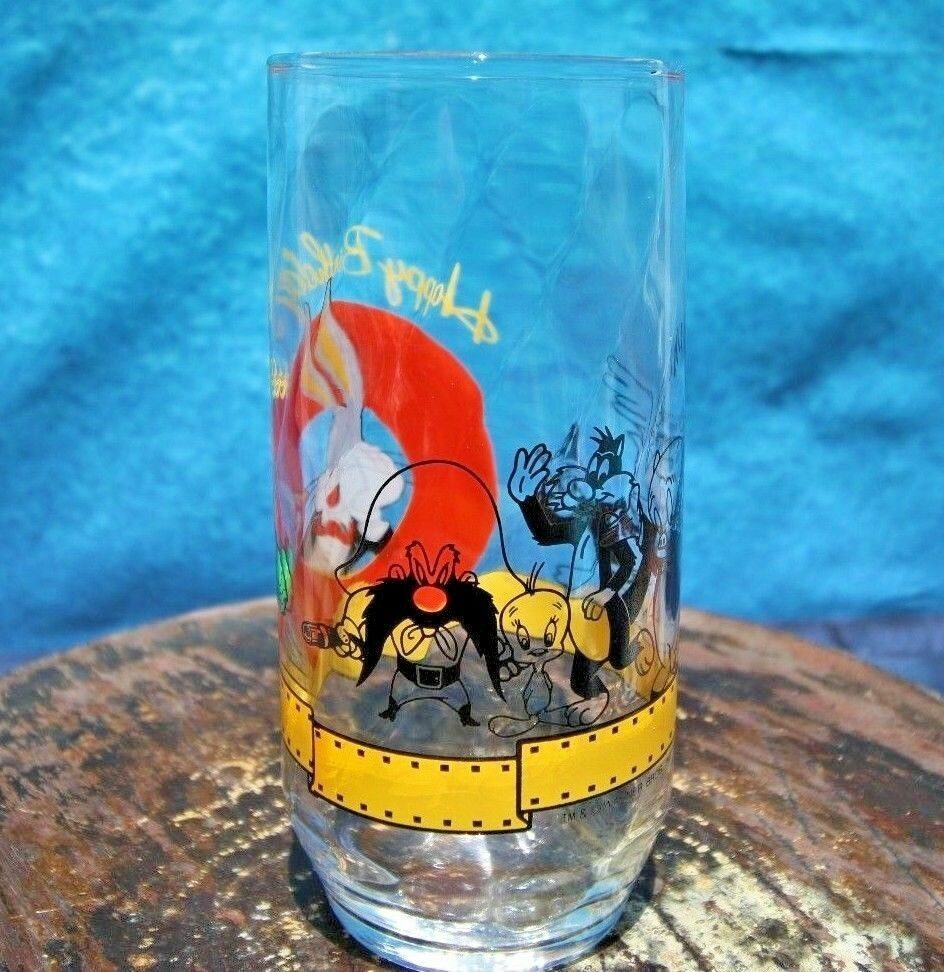Looney Tunes Happy Birthday Bugs Bunny Drinking Glass 50 Years 1990 Cup VTG - Fazoom