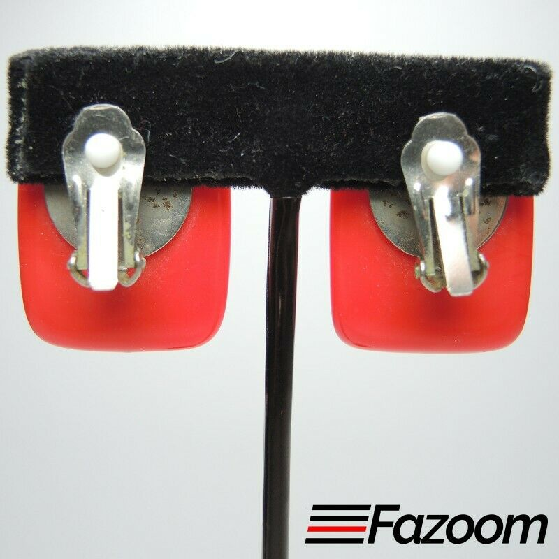 Red Rectangle Vintage Clip-On Earrings ~ Fashion Costume Jewelry - fazoom