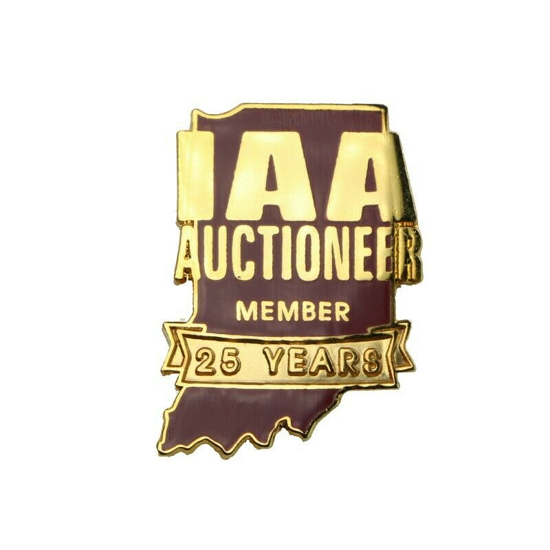Indiana Auctioneers Association State Outline 25 Years Lapel Pin - fazoom