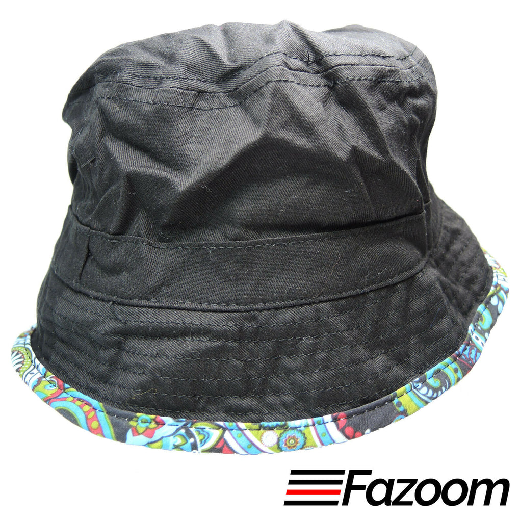 Lids Mens Reversible Bucket Hat (Paisley & Black) Size L/XL New - Fazoom