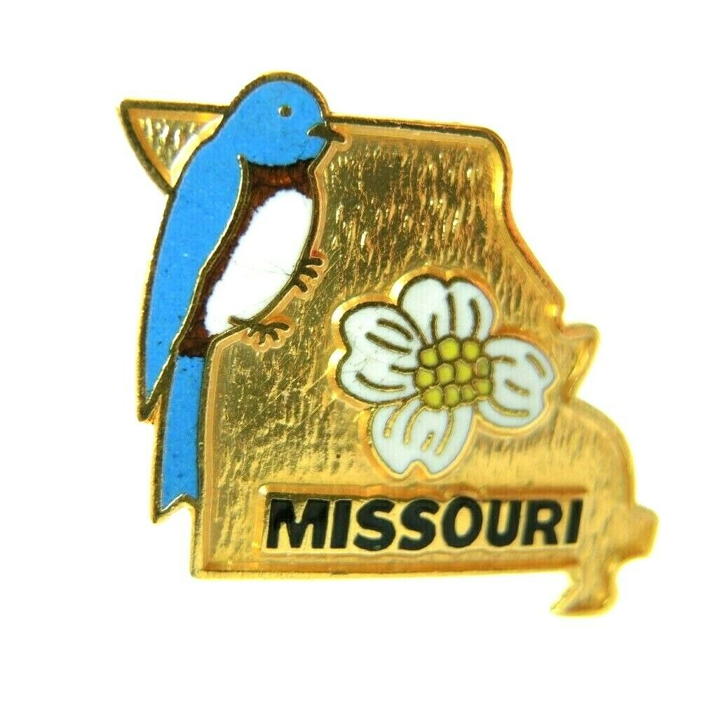 Missouri State Outline Bird and Flower Gold Tone Lapel Pin - fazoom
