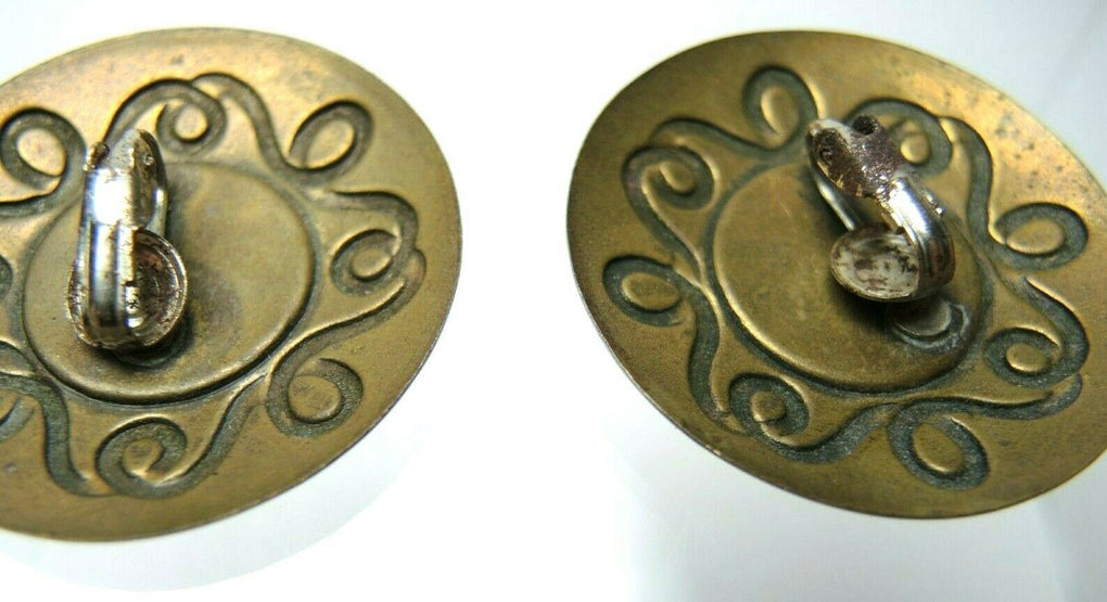 Paint Swirls Bronze Tone Circular Vintage Clip-On Earrings ~ Costume Jewelry - Fazoom