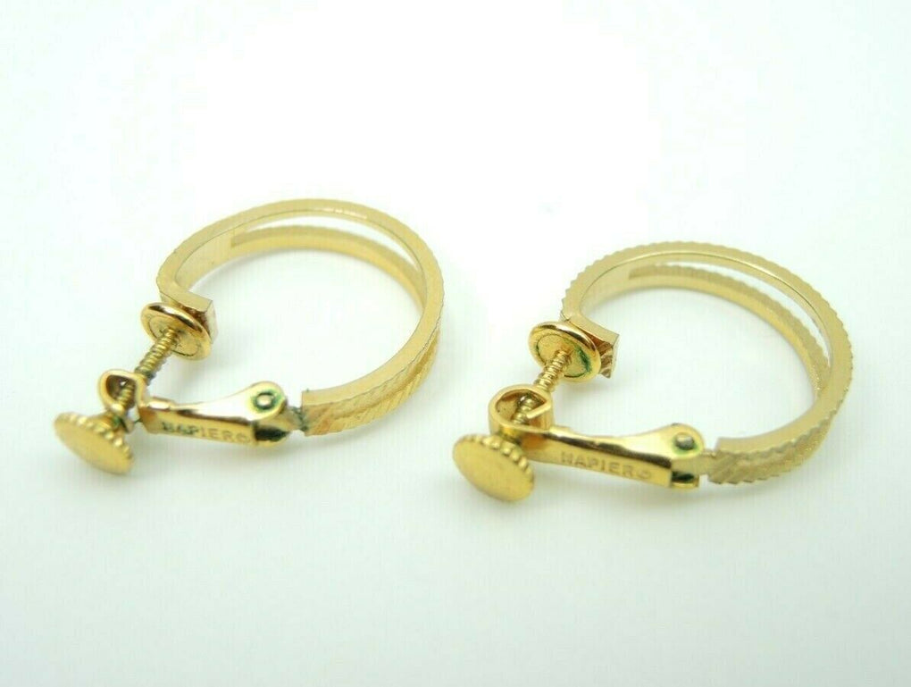 Napier Gold-Tone Etched Hoop Clip-On Earrings ~ Vintage Fashion Costume Jewelry - Fazoom