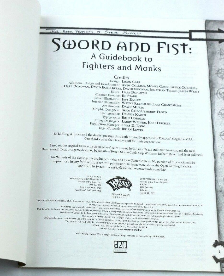 Dungeons and Dragons d20: Sword and Fist - A Guide to Fighters and Monks 11829 - Fazoom