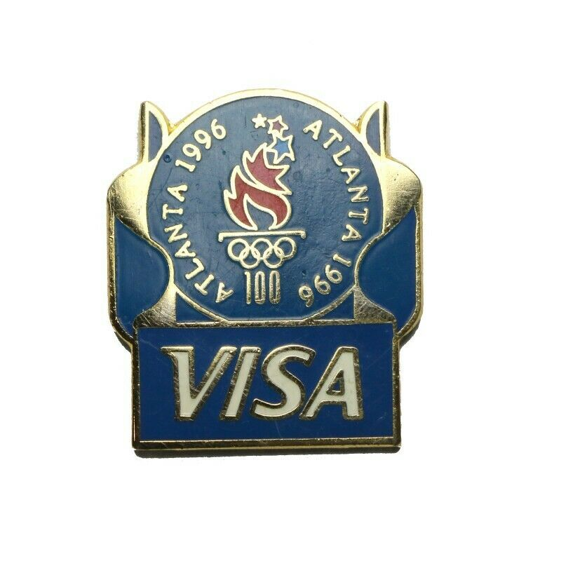 1996 Atlanta Summer Olympics Visa Blue Ribbon Lapel Pin - fazoom