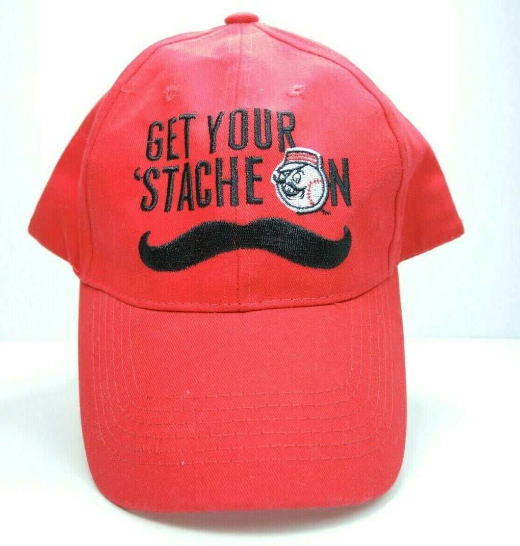 Cincinnati Reds Get Your Stache On Red Baseball Hat Cap Strapback MLB Mustache - fazoom