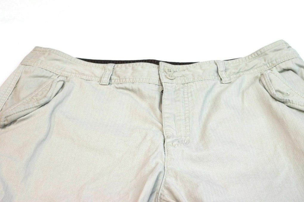 Eddie Bauer Women's Plus Size Petite 16 Khaki Short Capri Pants Cotton - Fazoom
