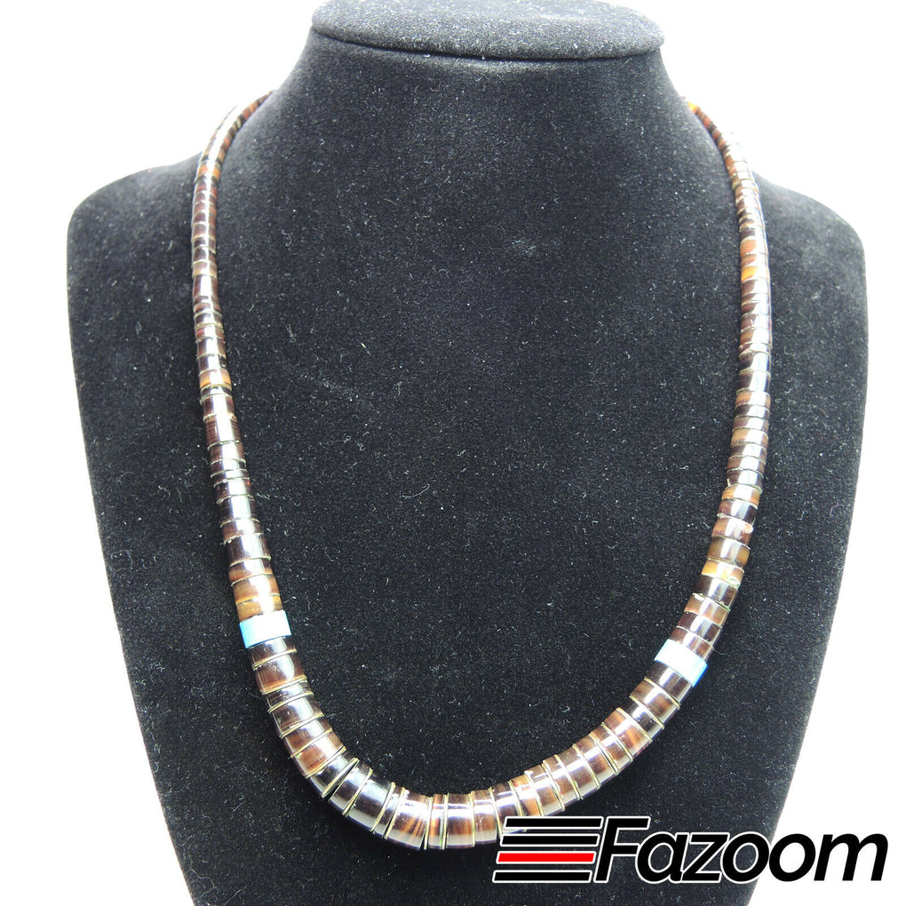 Graduated Flat Beads 17-inch Bead Necklace - Fazoom