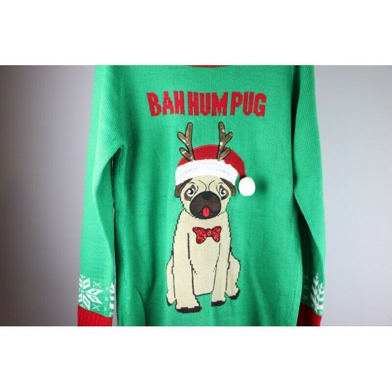 Ugly Christmas Sweater: Bah Hum Pug Dog with Santa Hat & Antlers - Size Medium - fazoom
