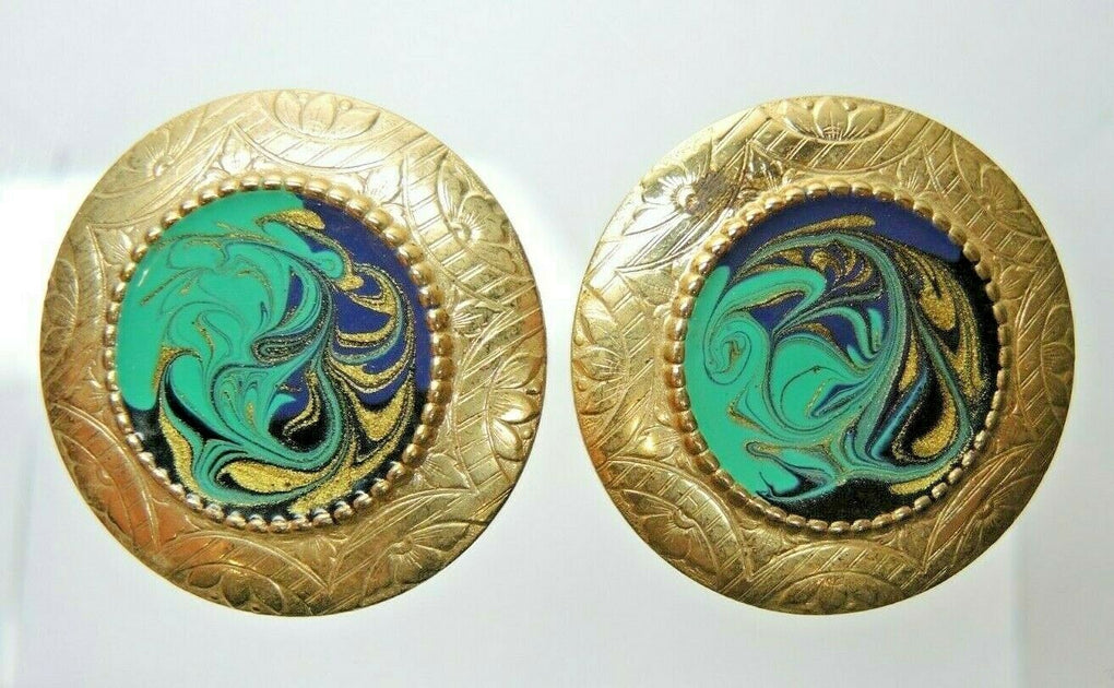 Paint Swirls Gold Tone Circular Vintage Clip-On Earrings Fashion Costume Jewelry - Fazoom