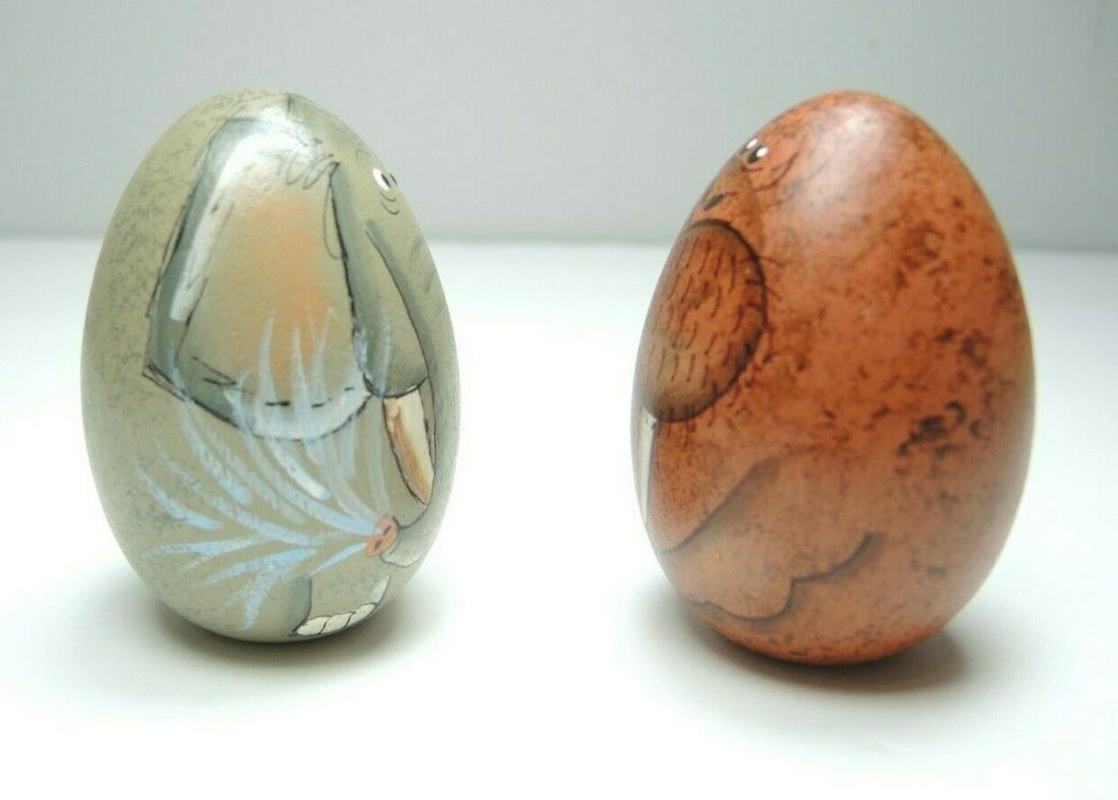 Wooden Easter Egg Hand Painted Set of 2
