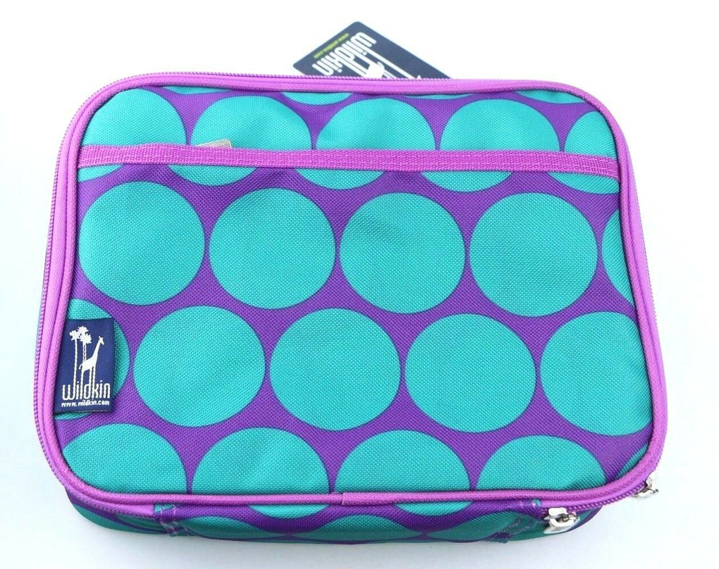Wildkin Big Dots Aqua Adult Lunch Box Bag Tote Women's Girl's Turquoise Purple - fazoom