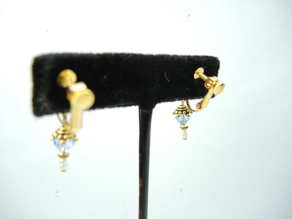 Dangle Bead Screw & Clip-On Earrings ~ Vintage Fashion Costume Jewelry - Fazoom