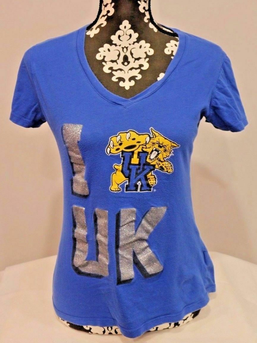 Kentucky Wildcats UK NCAA Women's Short Sleeve Glitter Tee T-Shirt Size M Soffe - Fazoom