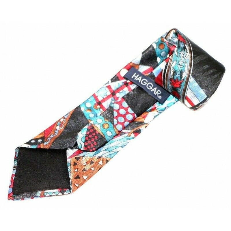 Haggar Dark Abstract Polyester Necktie - Fazoom