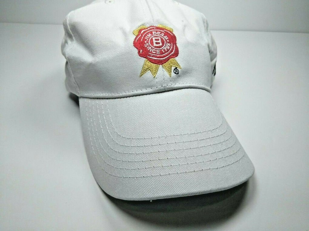Jim Beam Bourbon Whiskey Born in USA Strapback Adjustable White Hat Cap - fazoom