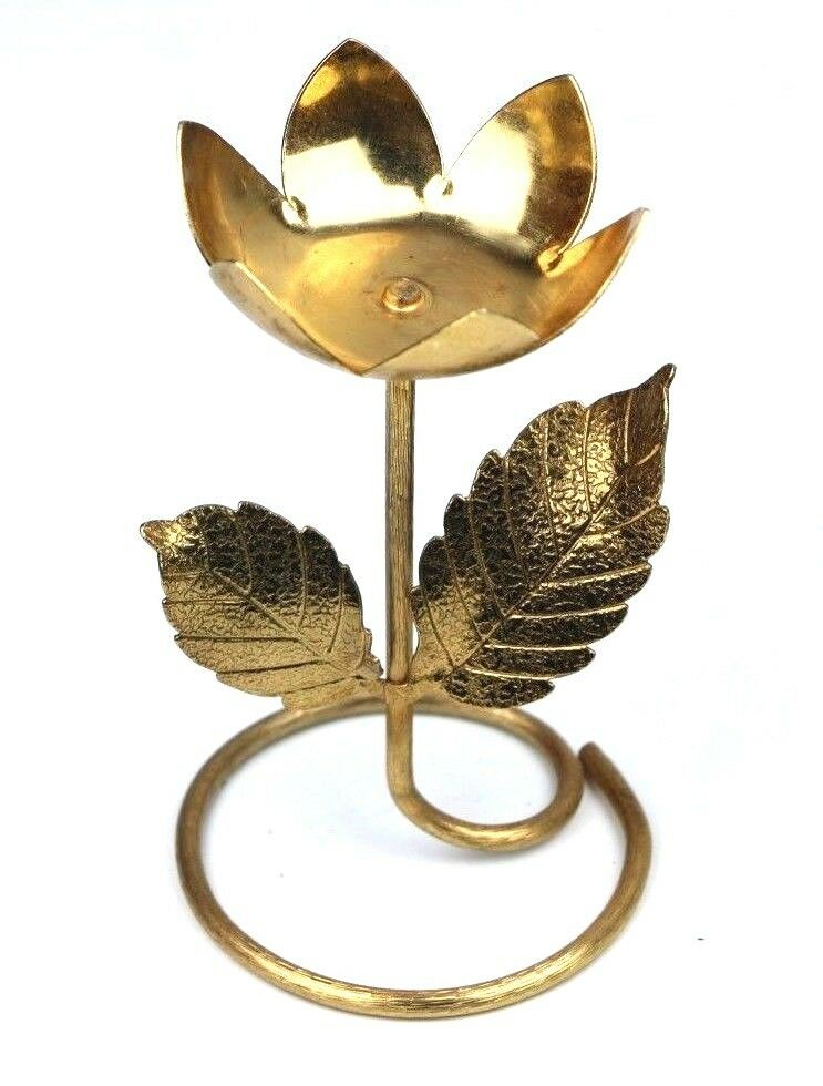 Avon Tulip Flower Tealight Candle Holder Metal Brass Gold Art Deco Decor Vintage - Fazoom