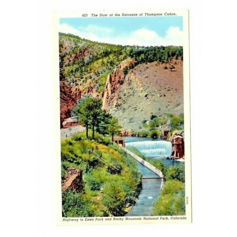 Dam Thompson Canon Rocky Mountains Linen USA Vintage Postcard 423 7A705 - Fazoom