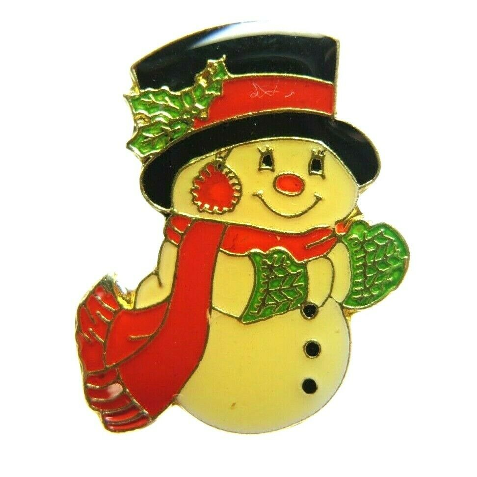 Snowman Winter Top Hat, Scarf, Mittens & Earmuffs Christmas Lapel Pin - Fazoom