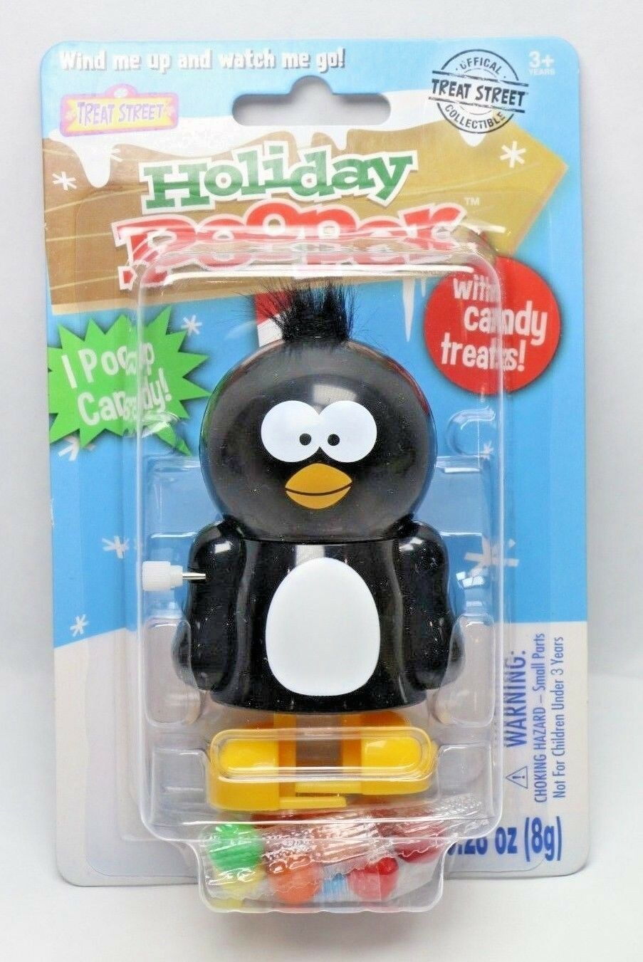 Holiday Pooper Treat Street Collectible Candy Dispenser Penguin Windup Toy - fazoom