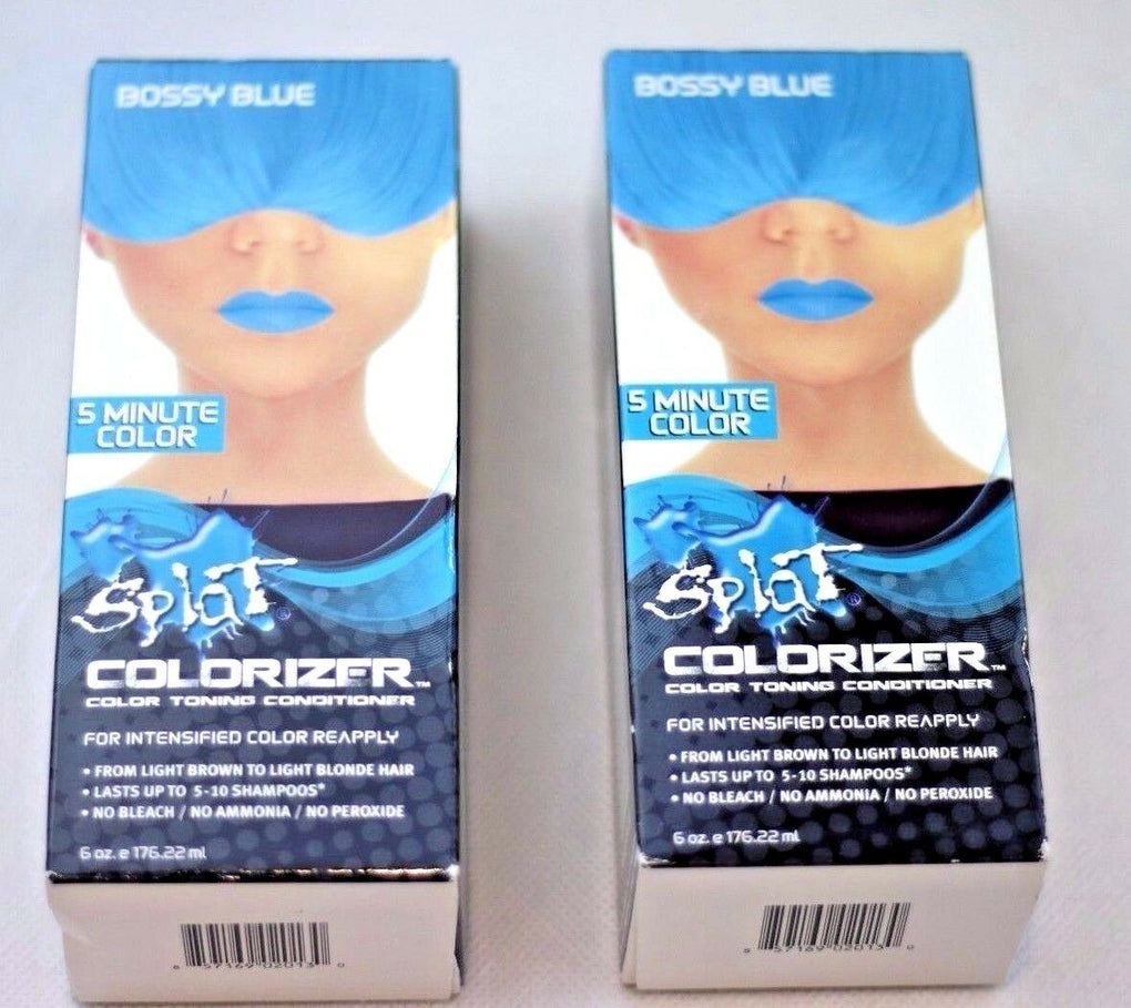 TWO 2x Splat 5 Minute Colorizer Color Toning Conditioner Bossy Blue Hair Dye - fazoom