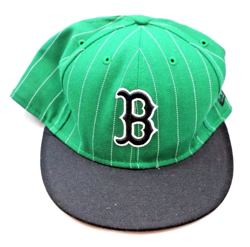Boston Red Sox MLB Green Pinstripe New Era Fitted Cap Hat Size 7-3/4 61.5cm. - fazoom