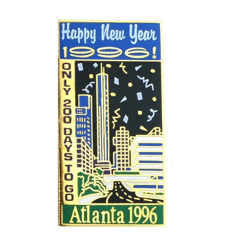 1996 Atlanta Summer Olympics Happy New Year 1996 200 Days Countdown Lapel Pin - fazoom