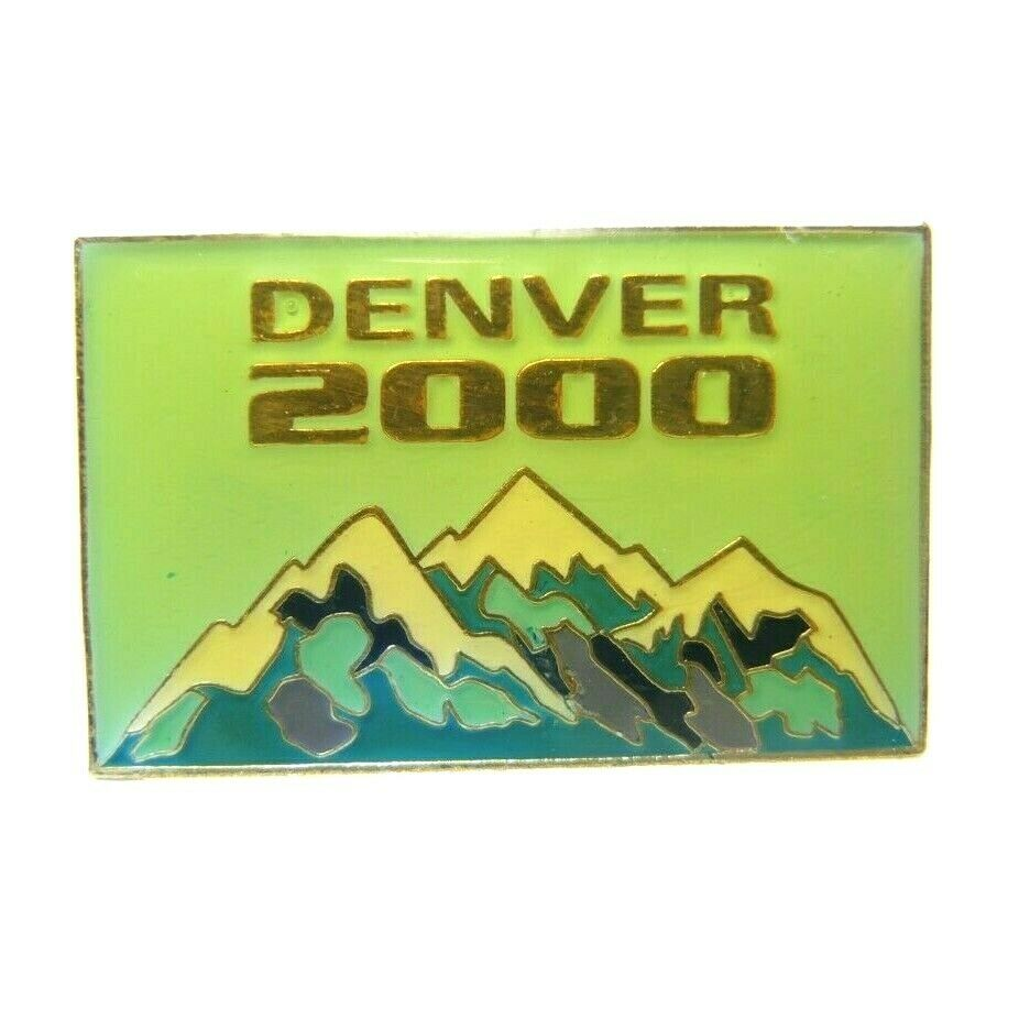 Denver Colorado 2000 Mountains Rectangle Souvenir Lapel Pin - fazoom