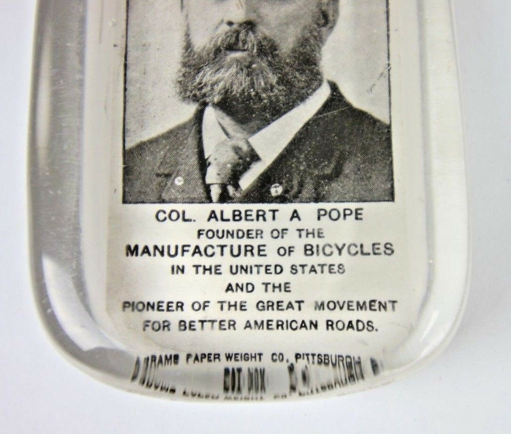 Glass Paper Weight Col Albert Pope Founder Bicycles VTG Abrams PA Paperweight - Fazoom