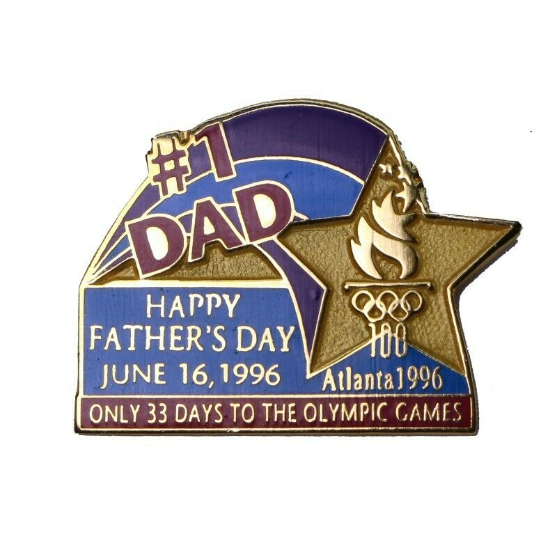 1996 Atlanta Summer Olympics Father's Day 1996 #1 Dad 33 Days Countdown Pin - Fazoom