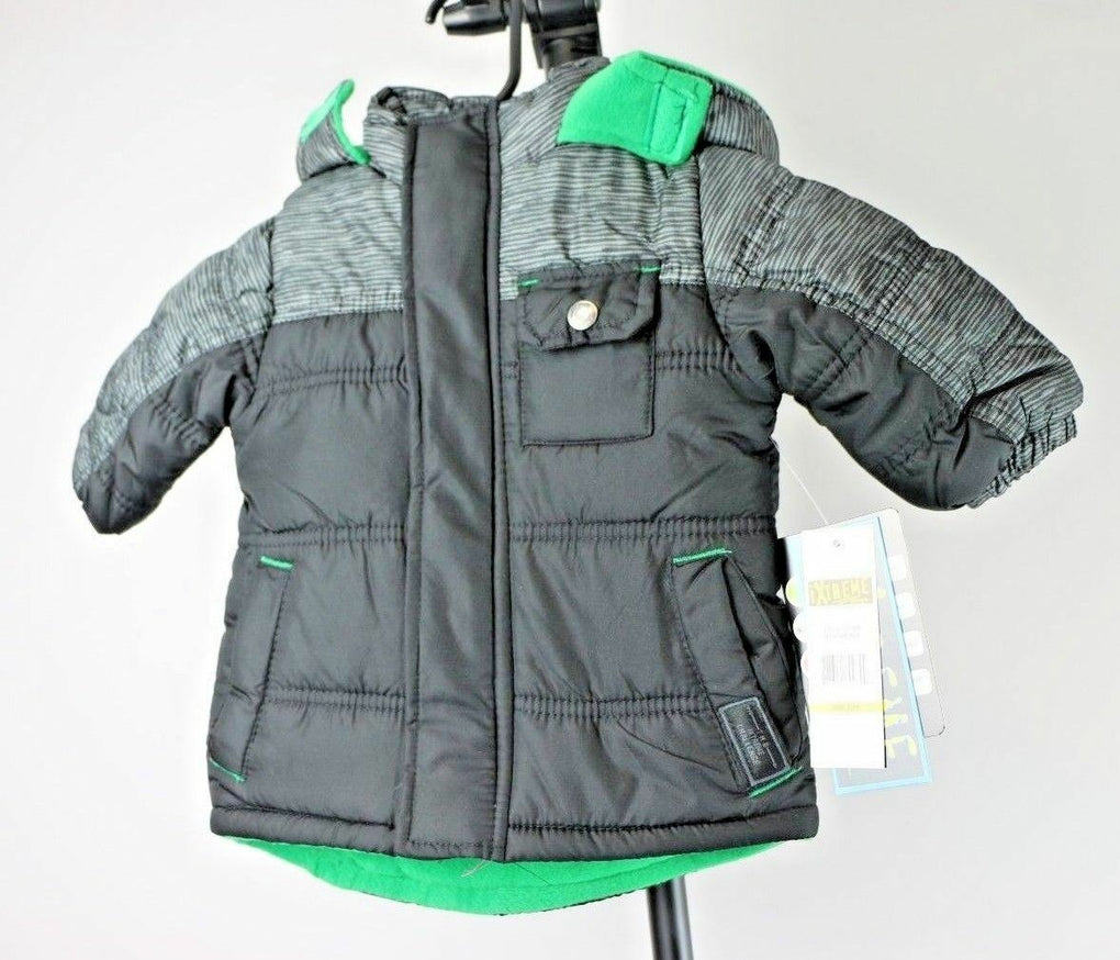 iXtreme Baby Boys Space Dye Print Colorblock Puffer Coat, Black, 12M - Fazoom