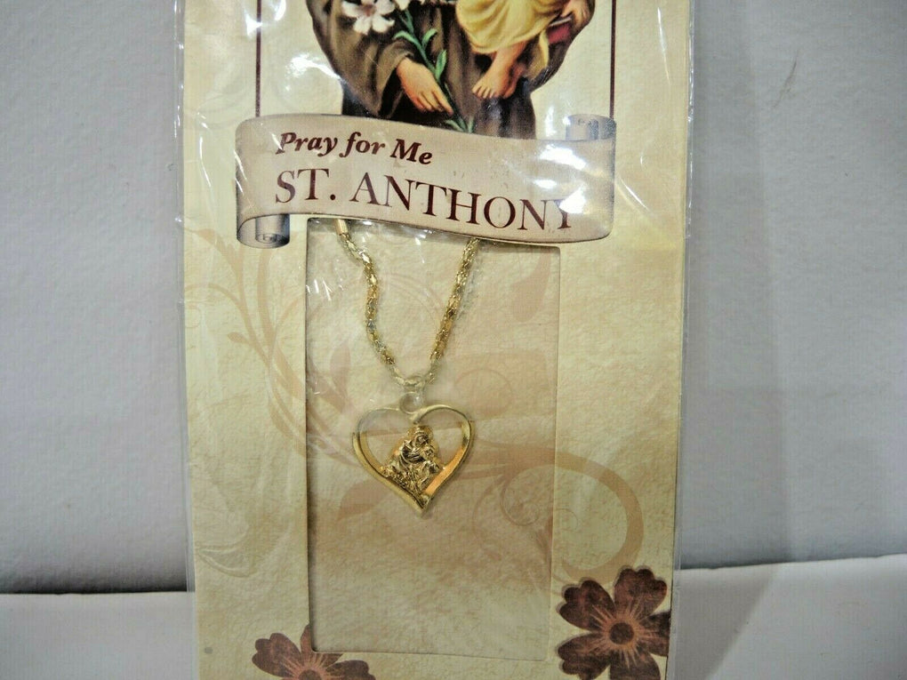 Pray For Me St. Anthony [Medal Heart Pendant Necklace] New In Package - fazoom