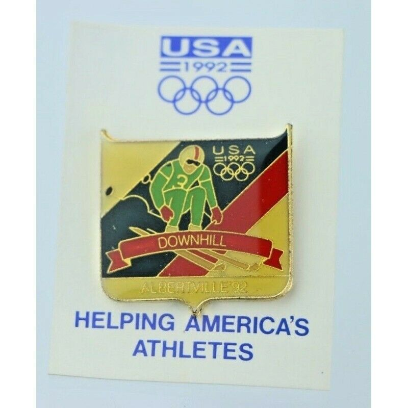 1992 Albertville Olympics Downhill Skiing Pin Badge USA Fundraising Collection - Fazoom