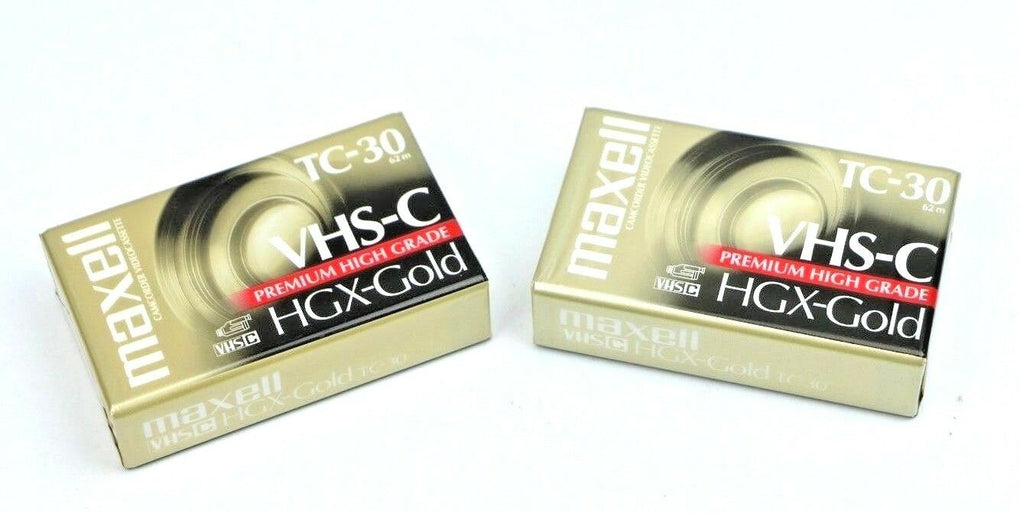 2-Pack Maxell VHS-C TC-30 Camcorder Cassette Tapes, HGX-Gold, Premium High Grade - fazoom