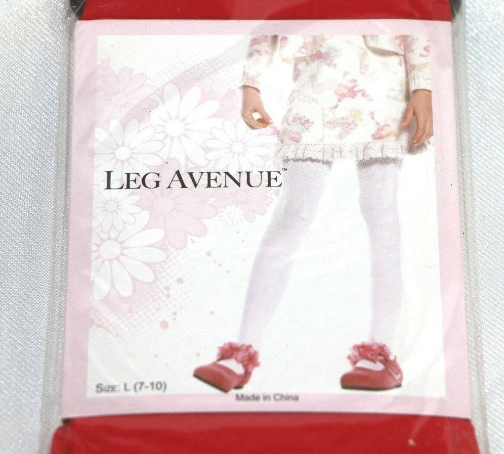 Leg Avenue 4646 Girls Tights Red Opaque Nylon Size large 7-10 - Fazoom