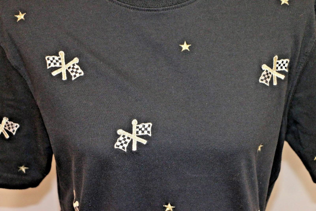 Paul Harris Designs Womens Racing Checkered Flags Stars Embroidered Shirt L - fazoom