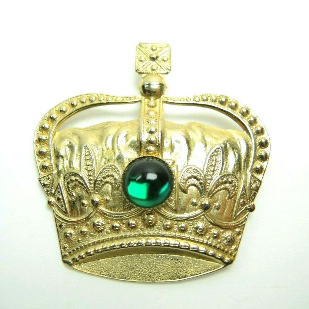 Crown Faux Gem 2.3-inch Vintage Unsigned Gold-Tone Brooch Lapel Pin - fazoom