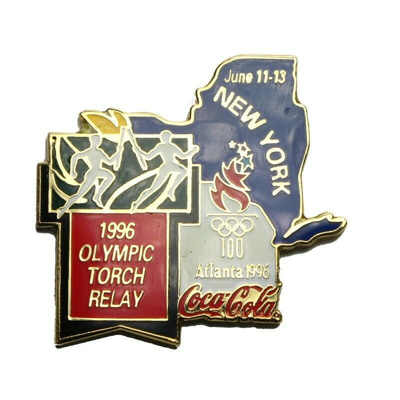 1996 Atlanta Summer Olympics Coca-Cola Torch Relay New York June 11-13 Lapel Pin - Fazoom