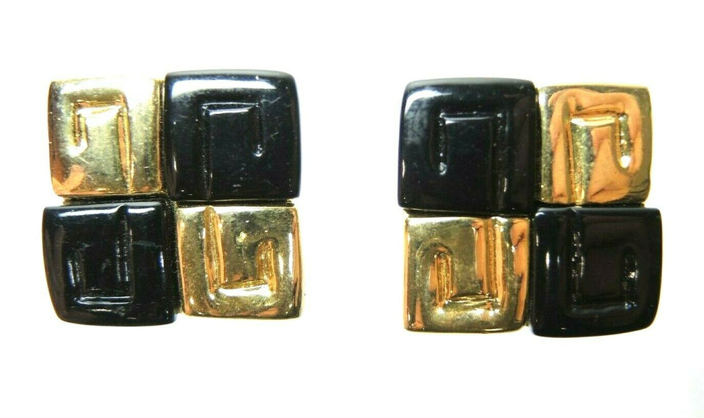 Black & Gold Tone Squares Vintage Clip-On Earrings ~ Fashion Costume Jewelry - Fazoom