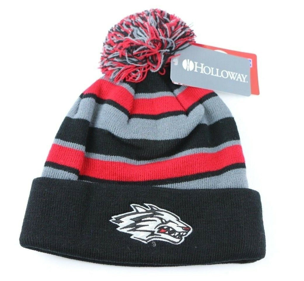 New Mexico Lobos NCAA Beanie Hat Cap Pom, One Size, Black/Scarlet/Graphite - Fazoom