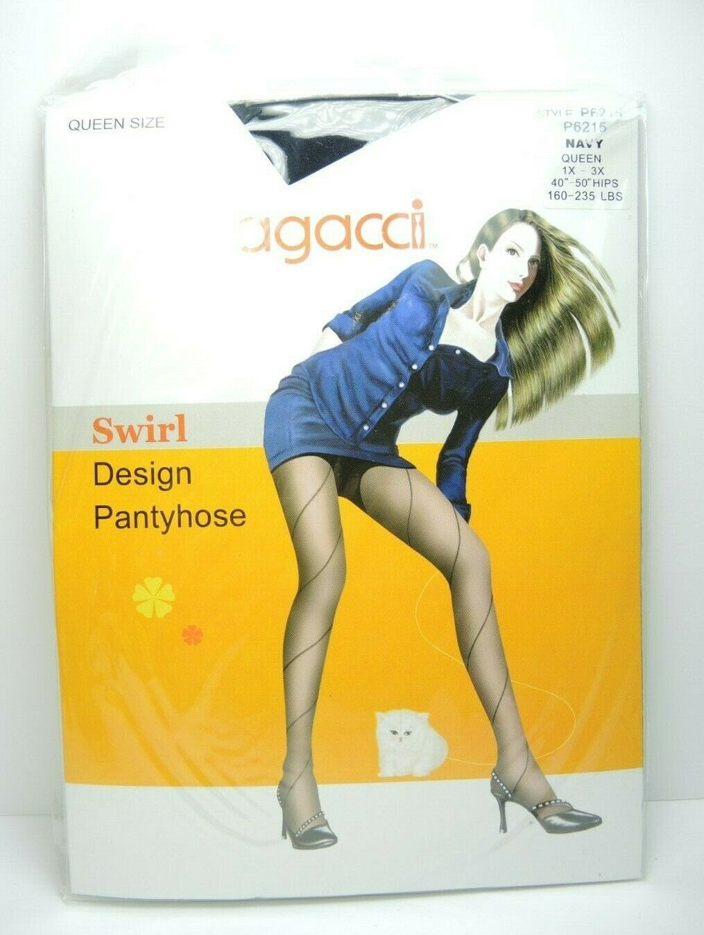 NEW Agacci Women's Pantyhose Stockings Sheer Swirl Design Navy Queen Size 1X-3X - fazoom