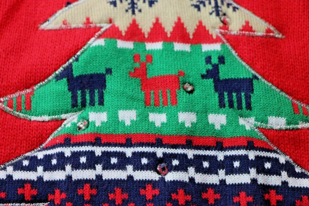 Red Holiday Time Ugly Christmas Sweater Party Christmas Tree 1X 16W FLAWS - Fazoom