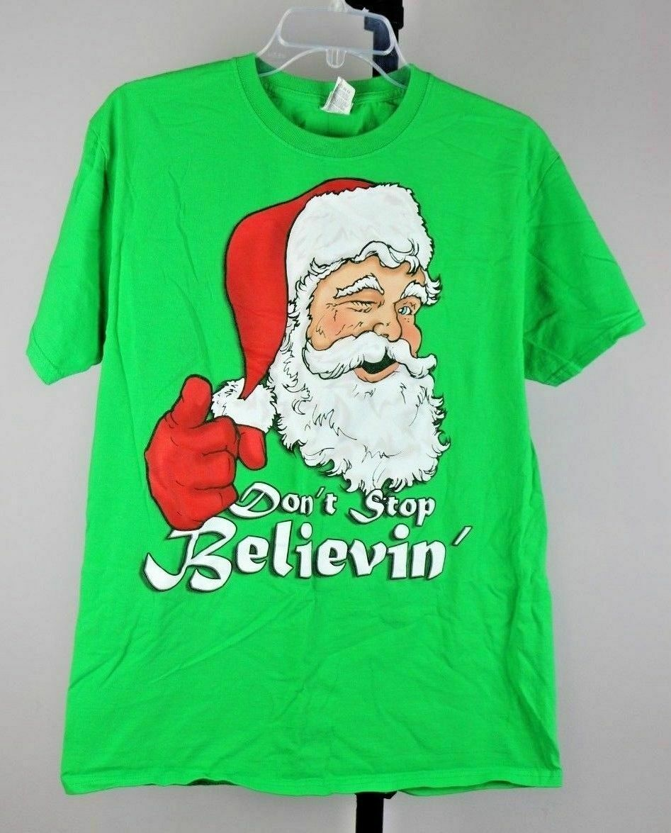 Santa Claus Don't Stop Believin' Holiday Christmas Tee T Shirt Size Medium M - Fazoom