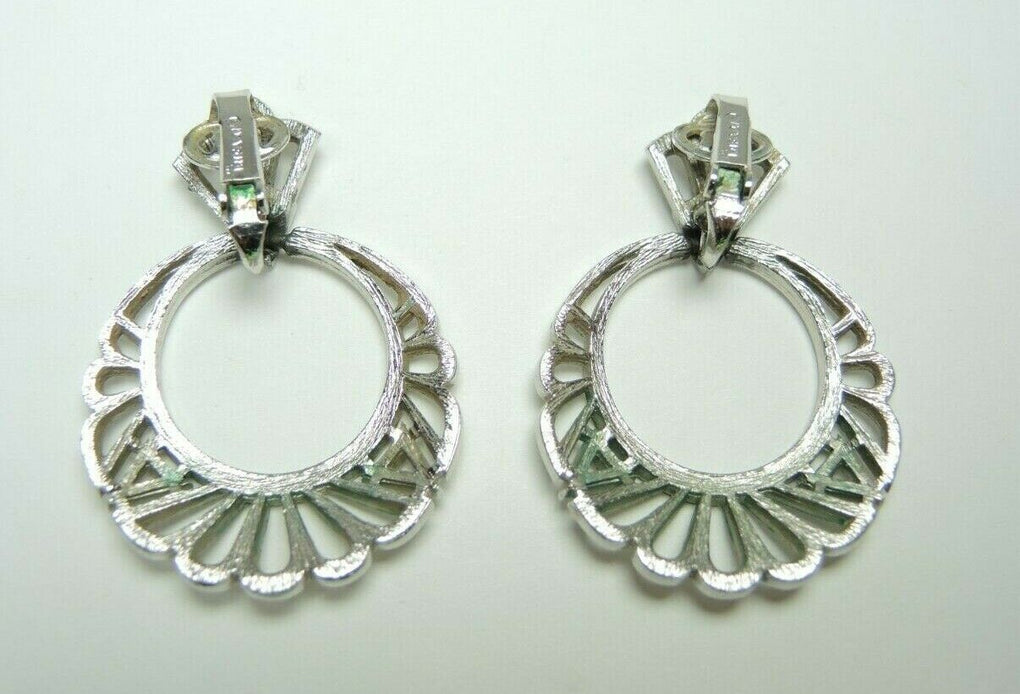Trifari Hallmarked Silver-Tone Round Hoop Clip-on Earrings Jewelry Vintage - Fazoom