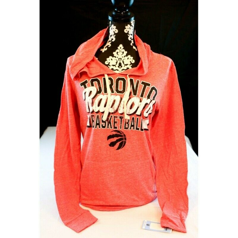 Toronto Raptors Women's Tri Blend Pullover Hoodie Pouch Pocket T-Shirt, Size Med - Fazoom