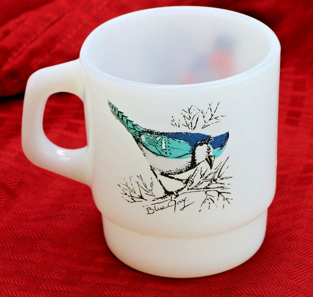 Anchor Hocking Fire-King Coffee Mug Blue Jay Bird Baltimore Oriole Stackable - Fazoom