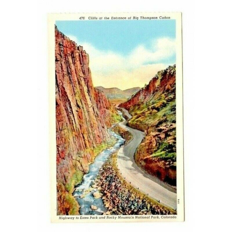 Cliffs at Big Thompson Canon Estes Park Rocky Mountains Linen USA Postcard 476 - fazoom