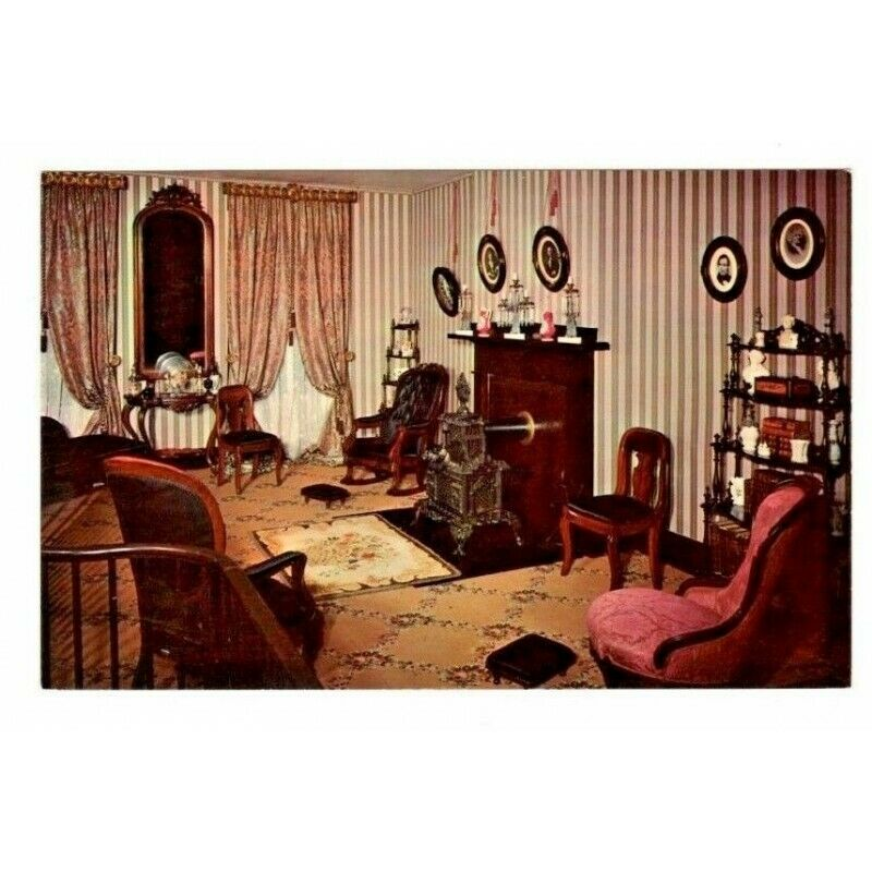Double Parlor Abraham Lincoln's Home Springfield Illinois Postcard P15141 - Fazoom