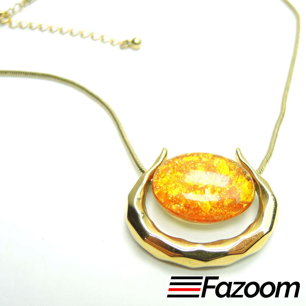 Gold-Tone 15.5-18-inch Signed KC Necklace Yellow Oval Cabochon Pendant Vintage - Fazoom